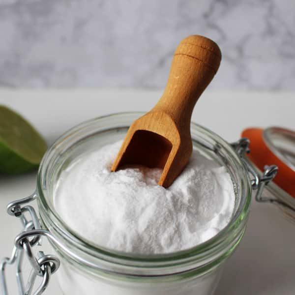 baking soda in jar with scoop