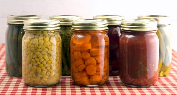canned vegetables on checker cloth