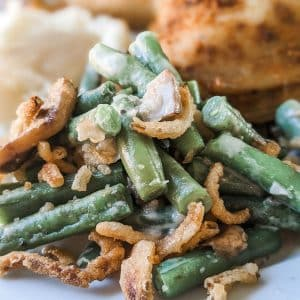 green bean casserole on plate