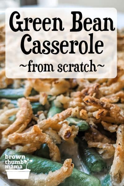 closeup of green bean casserole