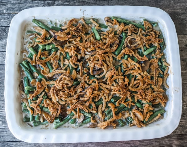 green bean casserole in pan