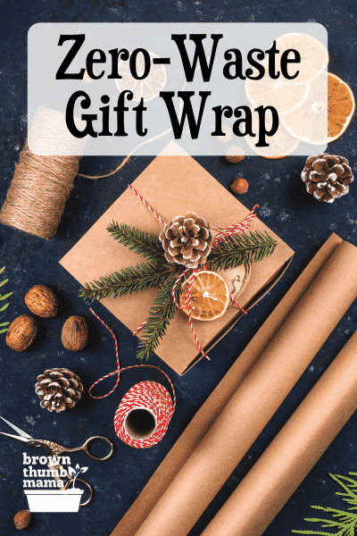 rustic gift wrapping on slate