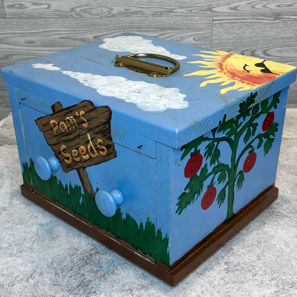 hand painted seed storage box