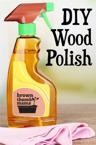 spray bottle of furniture polish and cloth
