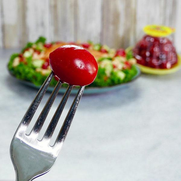 grape tomato on fork