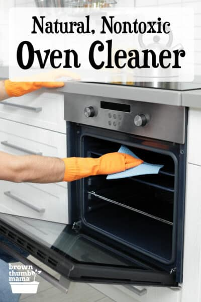 gloved hands cleaning oven