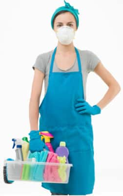 woman carrying toxic cleaners