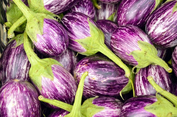 pile of white and purple striped eggplant