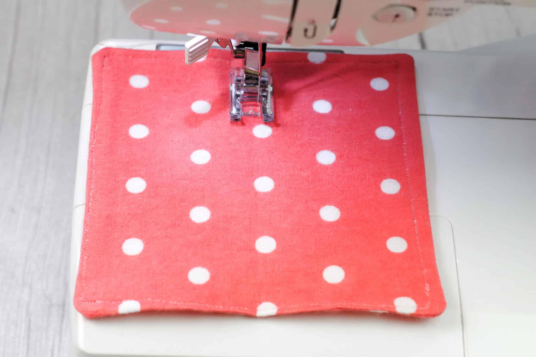 machine sewing seam through dryer sheet