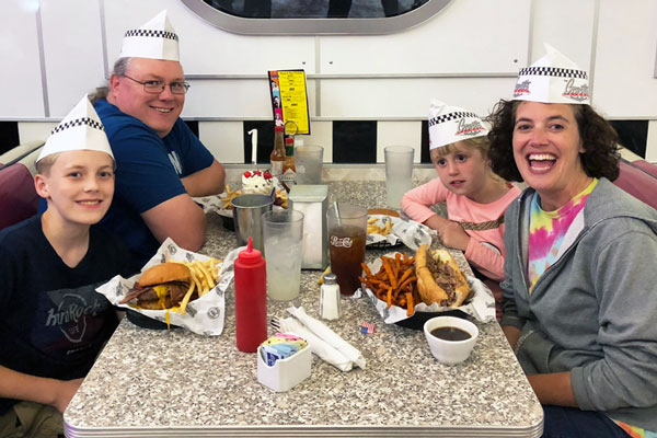 family at a diner