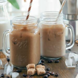 glasses of iced coffee with straws