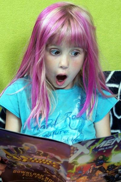 girl reading comic book